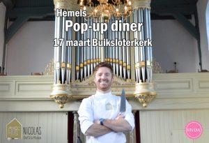 Pop-up diner Chef Nicolas in de Buiksloter kerk op zaterdag 17 maart